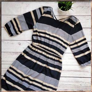 NEEDLE & THREAD Striped 3/4 Sleeve Dress, sz 1